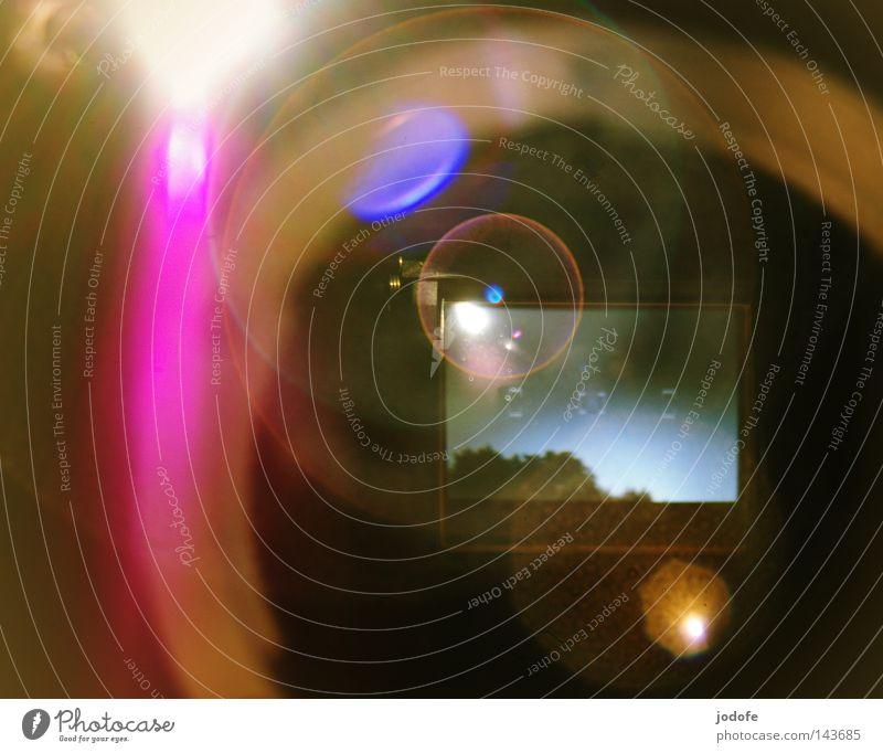 blick zurück - ab durch die linse Himmel Baum Sonne Farbe Lampe Beleuchtung Stern rosa Kreis Stern (Symbol) Technik & Technologie rund Fotokamera Spiegel Weltall Rad