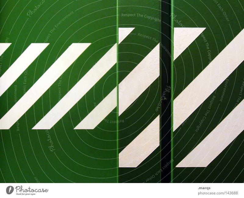 Liniert grün weiß Streifen Fahrstuhl Geometrie Farbe quer Metall Grafik u. Illustration gestreift abstrakt Anordnung ...
