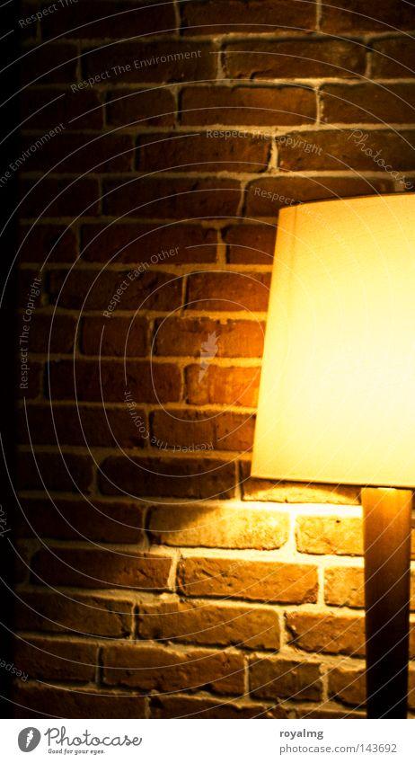 gute Nacht *ausmach* gelb Lampe Mauer Dekoration & Verzierung Backstein Handwerk Spiegelbild Fuge Lampenschirm Stehlampe