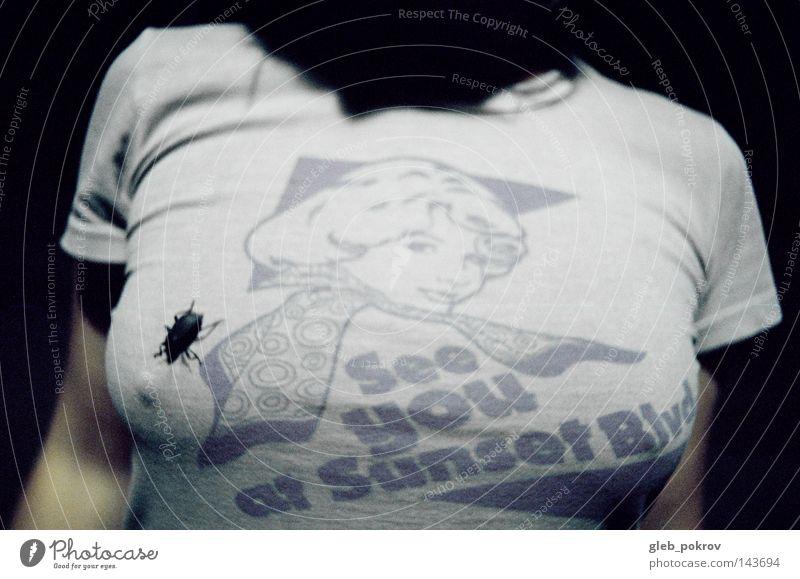 Frau Mensch Hand Straße Bekleidung T-Shirt Russland Sibirien Sonnenuntergang Wanze