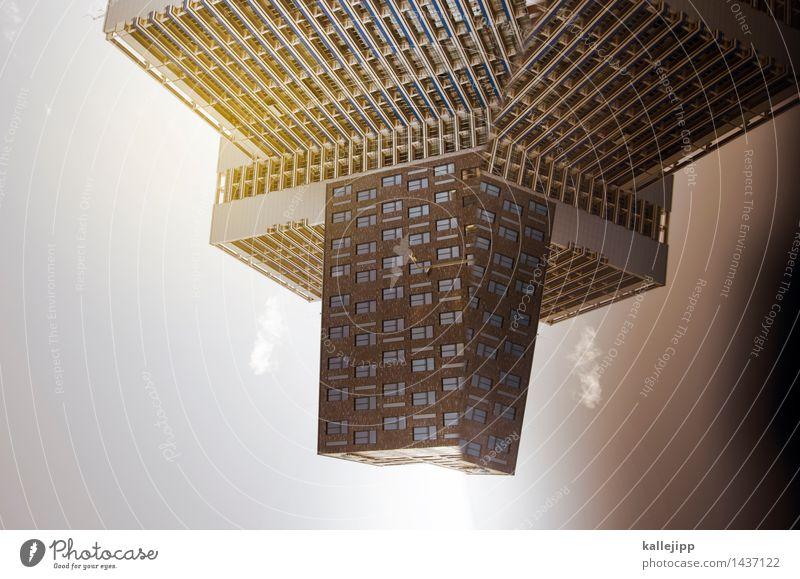 millenium falke Stadt bevölkert Hochhaus Mauer Wand Fassade Fenster Zukunft Raumfahrzeuge Weltall Außenaufnahme Experiment Menschenleer Licht Schatten Kontrast