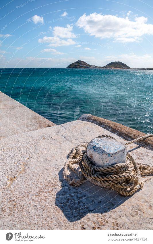 Insel mit zwei Bergen harmonisch Schwimmen & Baden Ferien & Urlaub & Reisen Wasser Himmel Horizont Schönes Wetter Seeufer Bucht Kalafati Griechenland Mykonos