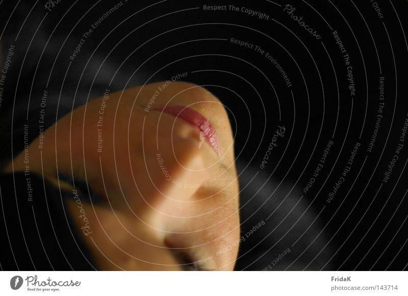 AufBlick Frau Mensch schwarz Gesicht Gefühle oben Mund Nase Spannung Versuch Charakter