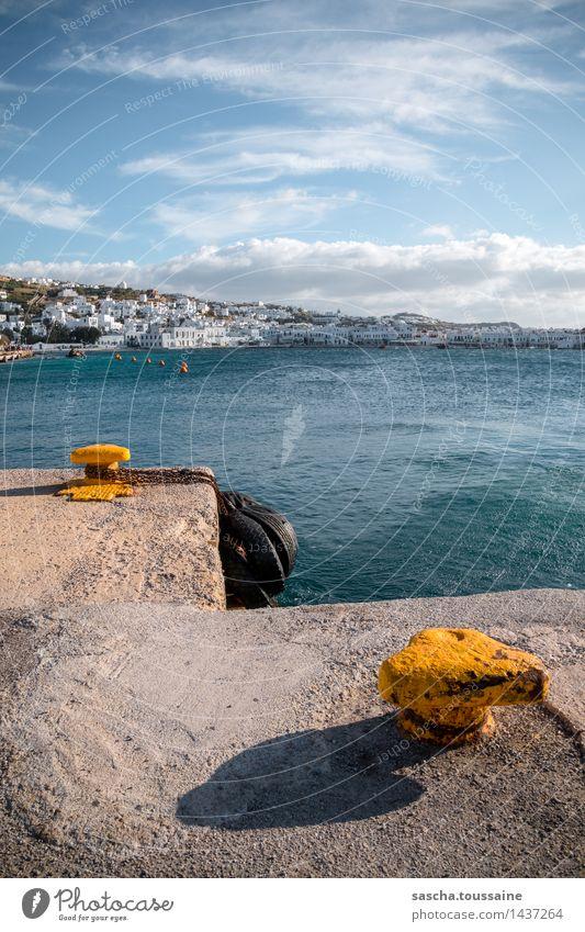 Alter Hafen von Mykonos Ferien & Urlaub & Reisen Wasser Wolken Hügel Küste Bucht Meer Mittelmeer Mykonos-Stadt Griechenland Fischerdorf Hafenstadt Altstadt Haus