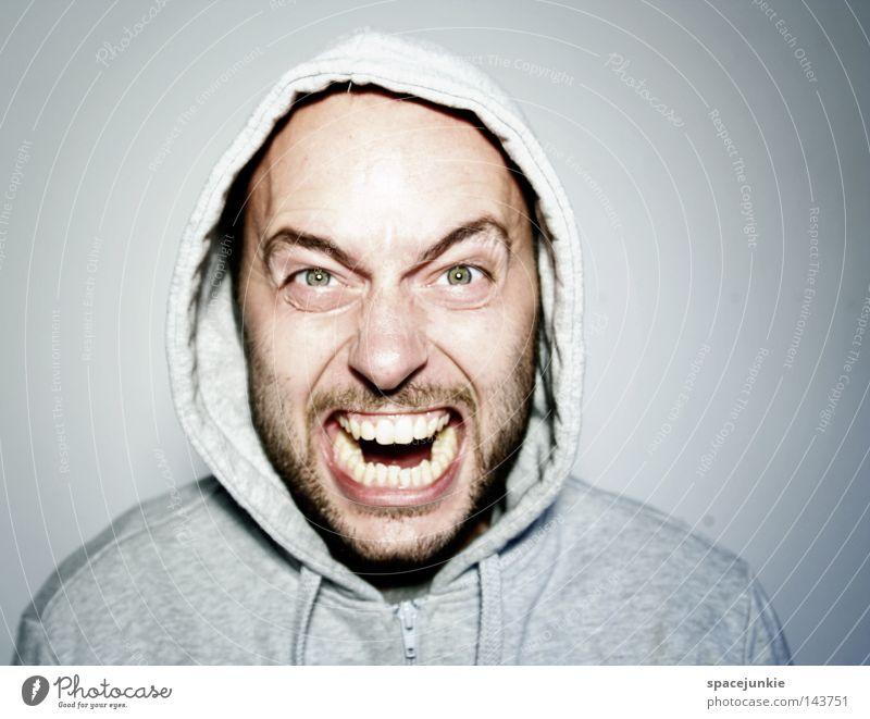 Zorn Mensch Gesicht Ärger böse Aggression Freak Porträt Wut Rüpel unfair Biest herzlos Grobian rau Angst Panik rücksichtsloser Mensch jähzorniger Mensch