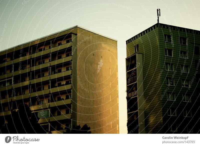 Platte deluxe. Haus Hochhaus Plattenbau Trauer schön Sehnsucht Legebatterie Abendsonne Hoffnung glänzend Gold Sonnenuntergang Balkon Pelargonie Stadt
