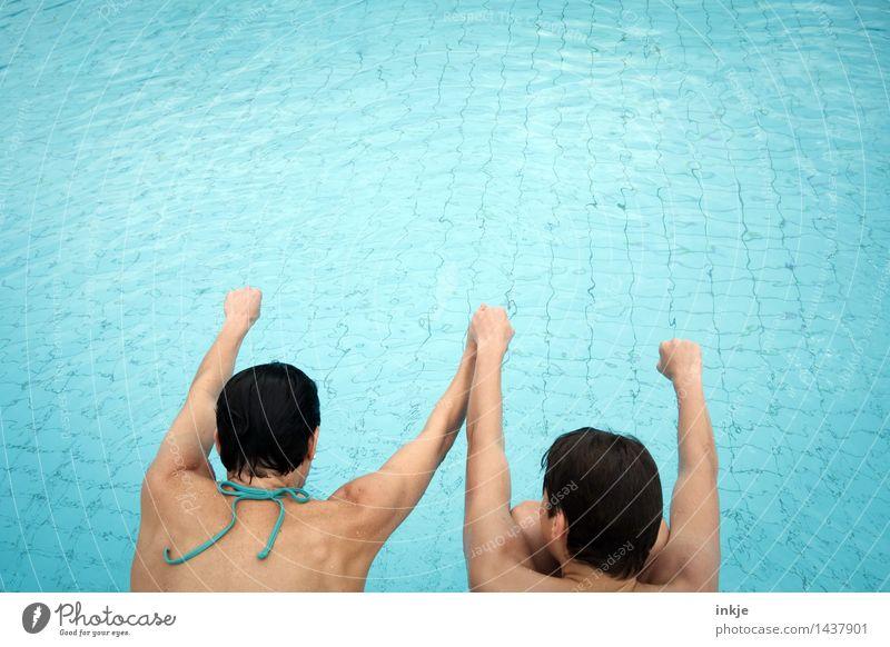 3,2,1.... Lifestyle Freude Schwimmbad Schwimmen & Baden Freizeit & Hobby Ferien & Urlaub & Reisen Sommer Kindererziehung Junge Frau Erwachsene Mutter