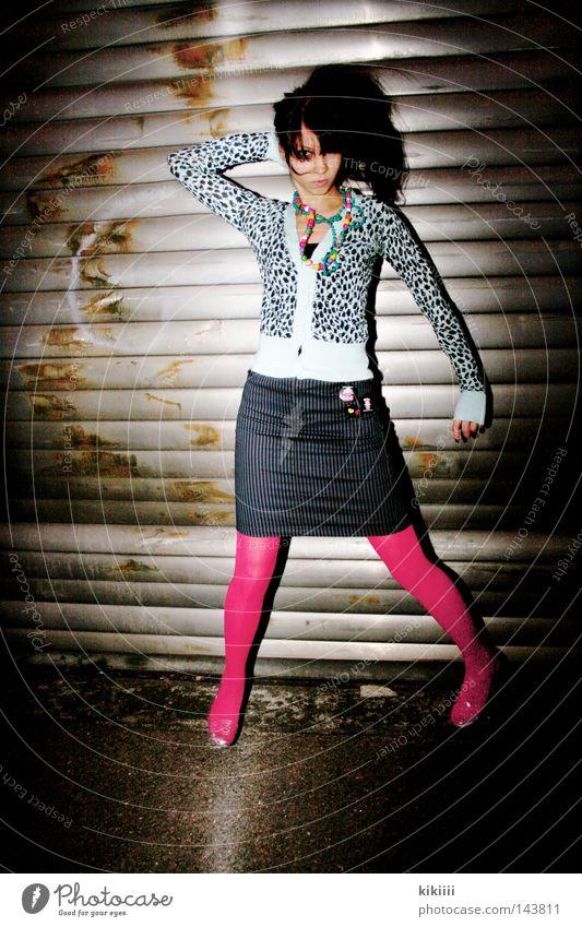 Pink schön Freude schwarz dunkel Party springen Glück Haare & Frisuren Tanzen rosa Bekleidung Feste & Feiern Club Katze Rock Strumpfhose