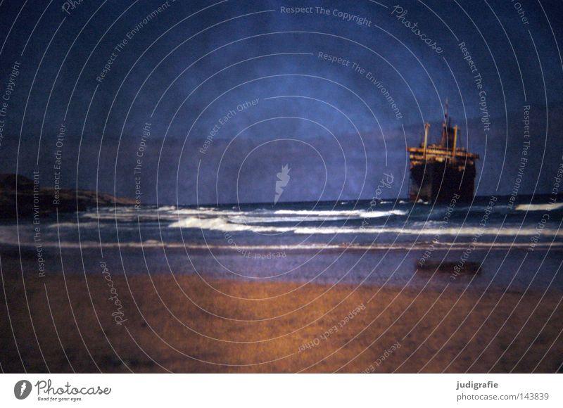 Rücksicht/Durchsicht Dia Experiment Licht Wasserfahrzeug American Star Schiffswrack Küste Strand Sand Gischt Wellen gestrandet Himmel Fuerteventura