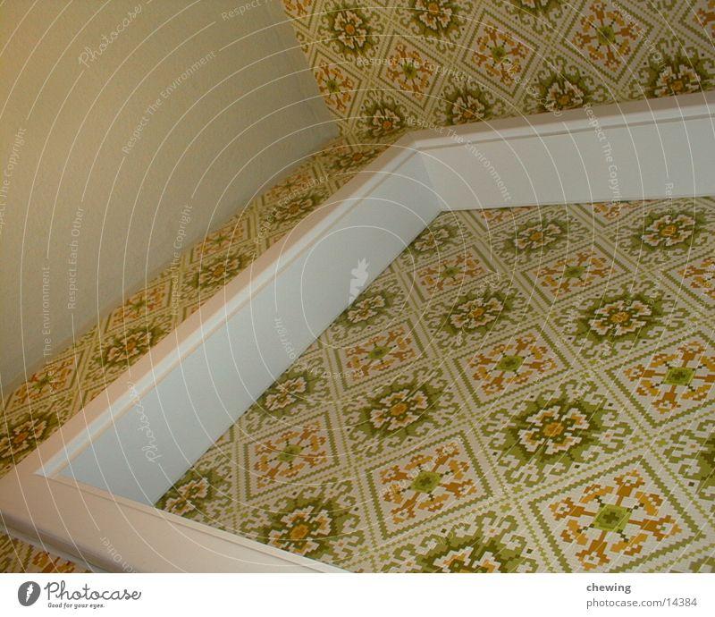 badezimmertapete grün gelb Wand Tür Ecke Bad Häusliches Leben Tapete Decke