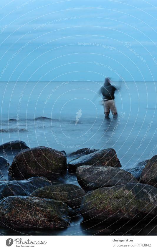 Steinzeit Wasser Meer blau Freude Ferien & Urlaub & Reisen ruhig Einsamkeit Ferne Arbeit & Erwerbstätigkeit Bewegung Freiheit Stein See Zeit frei