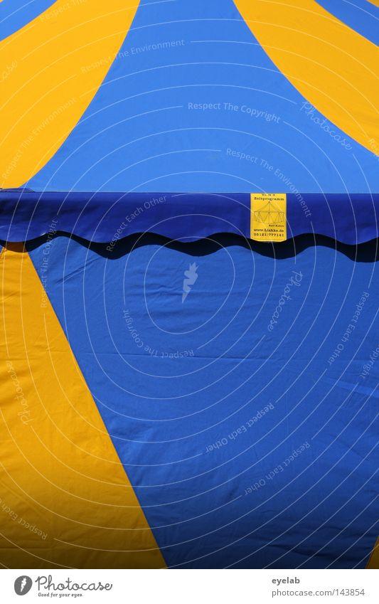 Schweden - Camping Zelt schlafen Zirkus Zirkuszelt Veranstaltung Bierzelt Einnäher Information Streifen gelb blau-gelb Sommer Dach Ecke Konstruktion Demontage