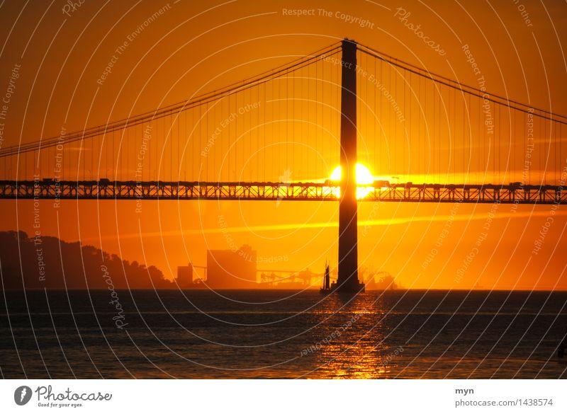 Ponte 25 de Abril, Lissabon Ferien & Urlaub & Reisen Stadt schön Sommer Sonne ruhig Wärme Tod Glück Stimmung Horizont orange Zufriedenheit Tourismus
