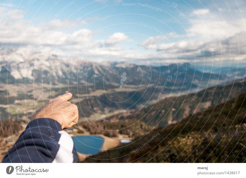 Da drüben... Mensch maskulin Hand Finger 1 Wolken Herbst Schönes Wetter Alpen Berge u. Gebirge Ennstaler Alpen Schlucht Unendlichkeit Ferne zeigen Hinweis