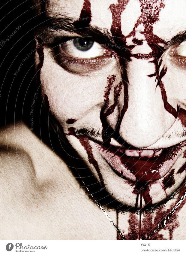 teufels-smily Mann weiß schwarz Gesicht Auge dunkel lachen hell Wassertropfen gefährlich verrückt Zähne Filmindustrie Maske Krankheit gruselig