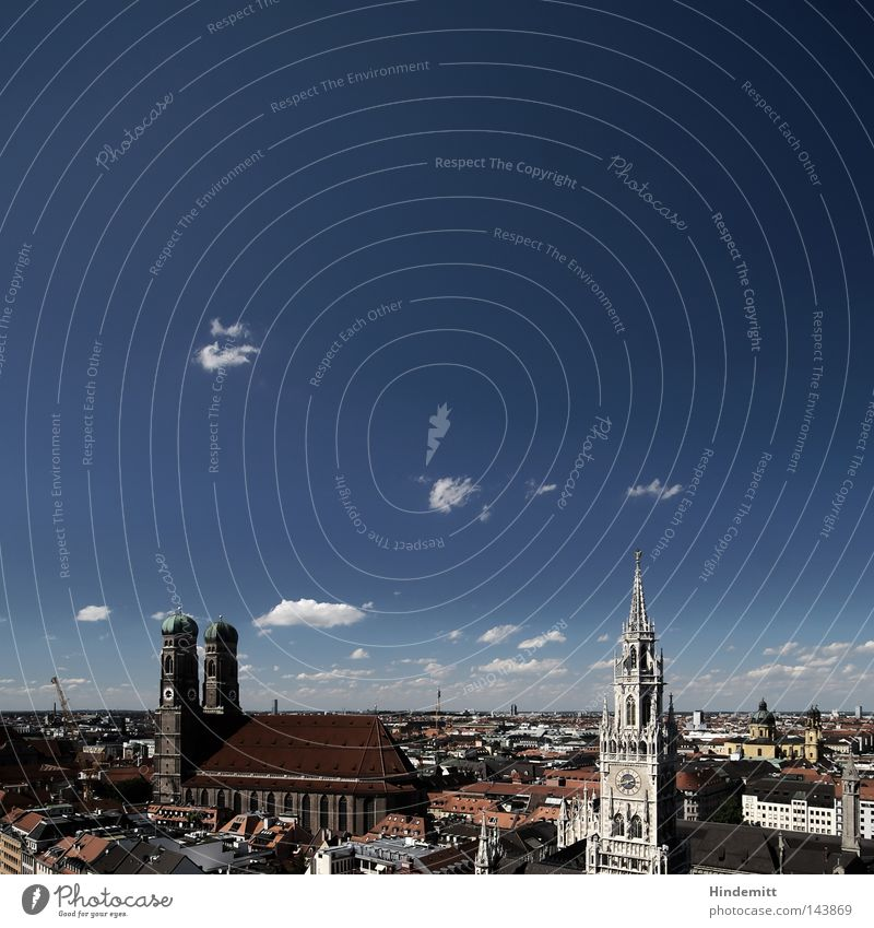 LOKALKOLORIT | Postkartn Minga Himmel Ferien & Urlaub & Reisen Stadt blau schön weiß rot Wolken dunkel oben Tourismus ästhetisch hoch groß Turm München