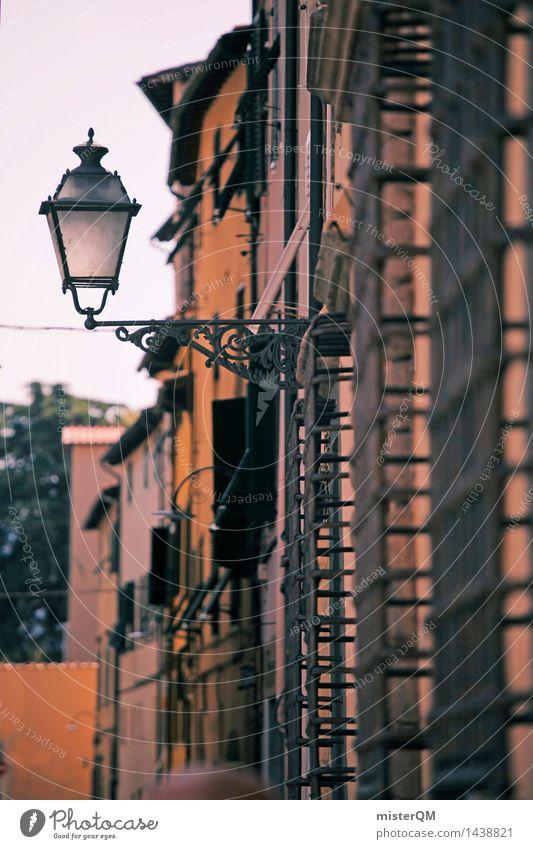Lichtblick I Kunst Kunstwerk ästhetisch Fassade Lampe Laterne mediterran Straßenbeleuchtung Lampion Laternenpfahl Italien Lucca Kleinstadt Grossstadtromantik