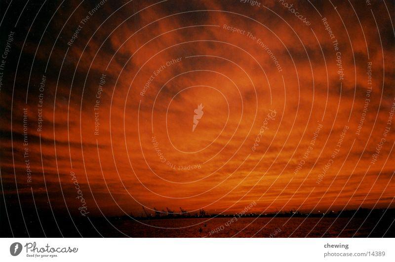 sonnenuntergang manhatten Wasser Himmel rot Kran