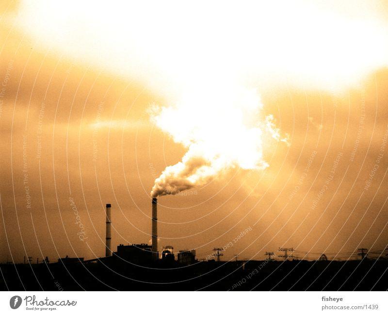 Schlote Wolken Umwelt Industrie Rauch Schornstein Stromkraftwerke Elektrizität