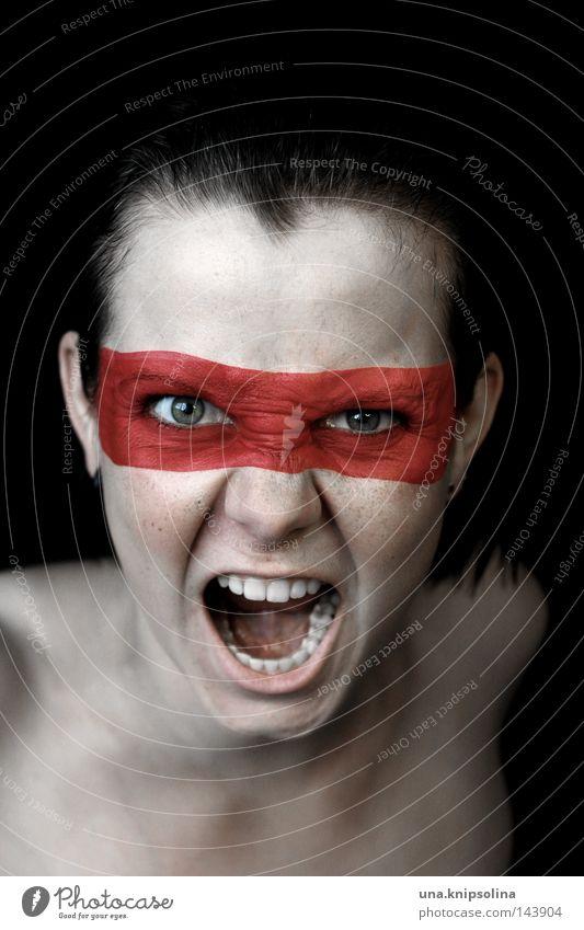 scream Frau Jugendliche rot Farbe Erwachsene sprechen Farbstoff Junge Frau bedrohlich Schnur Maske Wut schreien Schminke kämpfen Held