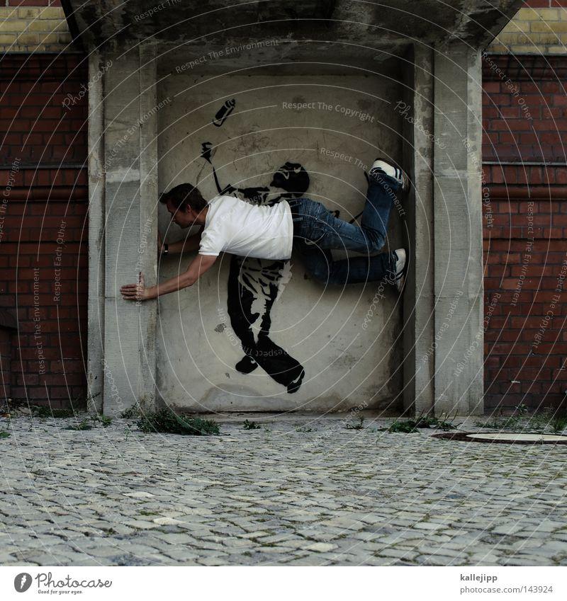 kalle meets banksy Mann Mensch Bergsteigen Klettern Freeclimbing Straßenkunst Graffiti Aufschrift Kunst Künstler Stil Lebewesen Artist Akrobatik Tagger Farbdose