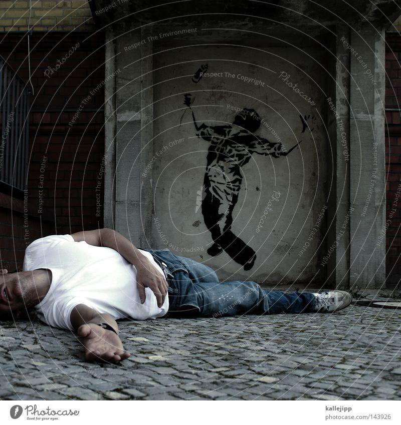 treffen Mann Mensch Bergsteigen Freeclimbing Straßenkunst Aufschrift Kunst Stil Artist Akrobatik Tagger Farbdose Gewalt töten erschießen Wand Leiche Stadt
