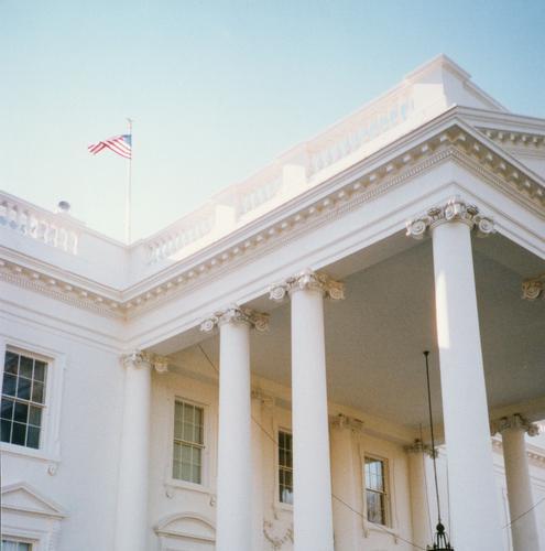 white house Präsident Weißes Haus Beleuchtung Gebäude Südamerika Washington DC USA Vergangenheit