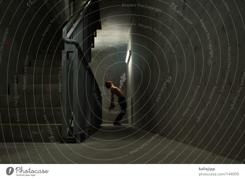 sonnenbank Mensch Mann dunkel Architektur Beleuchtung Haut Beton Treppe Elektrizität Geländer Treppengeländer Treppenhaus Strahlung Sonnenbad Neonlicht elektronisch