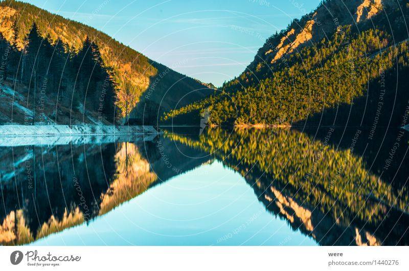 Symmetrie Natur Ferien & Urlaub & Reisen Pflanze Wasser Erholung Blatt ruhig Berge u. Gebirge Herbst Küste See Fußweg Seeufer Spiegel Umweltschutz Teich