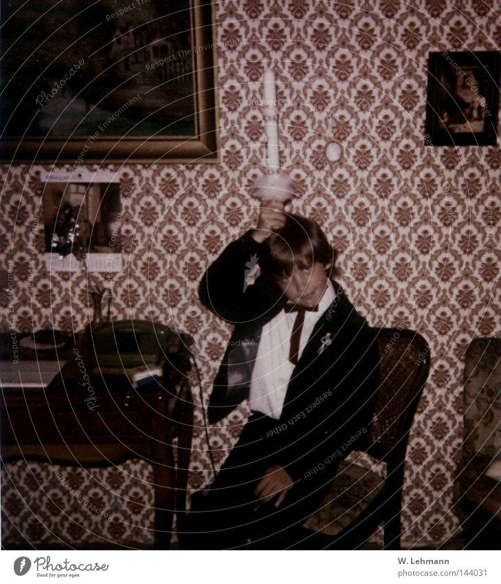 Oldies alt Tisch Stuhl Kerze Bild Tapete analog Anzug Momentaufnahme Qualität Oldtimer Fliege