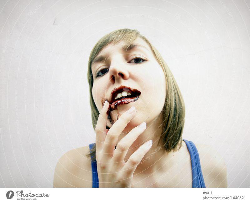 Chocolaty Frau Gesicht Mund Essen Finger Fröhlichkeit Lippen Schokolade kindisch