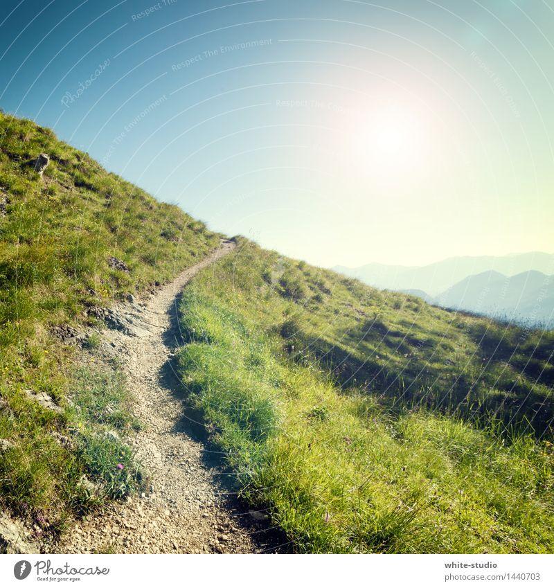 Weg. Natur Ferien & Urlaub & Reisen grün Landschaft Erholung Berge u. Gebirge Reisefotografie Umwelt Wiese Wege & Pfade Sport Gras Park wandern Abenteuer Fußweg