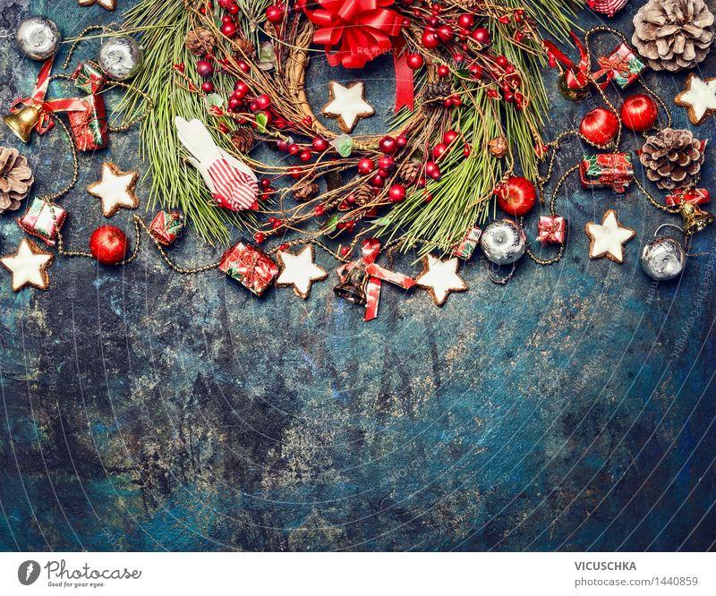 Vintage Weihnachten Hintergrund mit Deko Stil Design Winter Haus Dekoration & Verzierung Veranstaltung Feste & Feiern Weihnachten & Advent Schleife Holz Zeichen