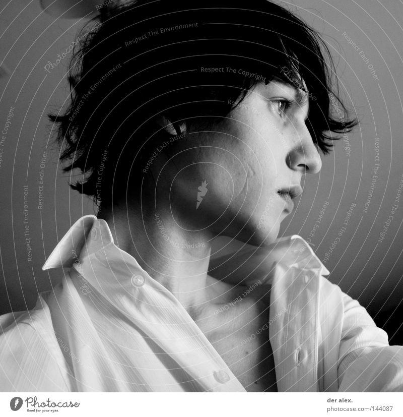 seitenansicht schön Haare & Frisuren Gesicht Jugendliche Hemd Erotik weiß leer zerzaust Schwarzweißfoto Porträt Blick
