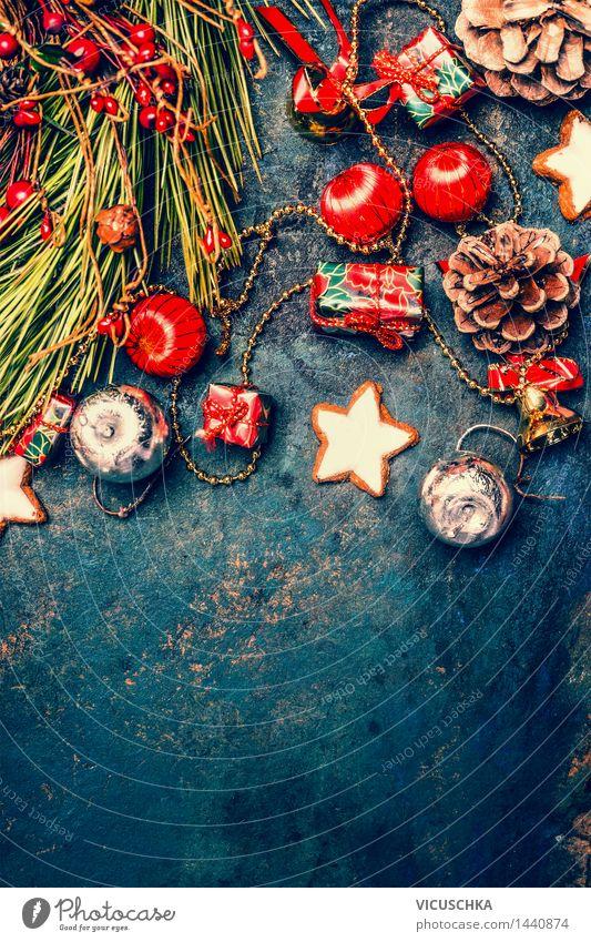 Weihnachtsdeko mit Plätzchen und Tannenzweige Weihnachten & Advent Winter Stil Hintergrundbild Feste & Feiern Party Design Postkarte Veranstaltung Tradition