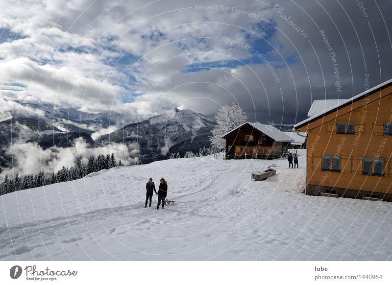 Wintertag Natur Ferien & Urlaub & Reisen Landschaft Wolken Haus Winter Berge u. Gebirge kalt Umwelt Schnee Felsen Tourismus Freizeit & Hobby wandern Ausflug Gipfel