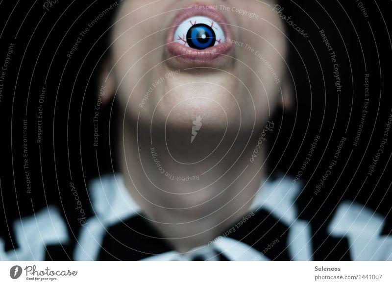 Augenzeuge Mensch Kopf Gesicht Pupille Augenfarbe 1 beobachten Blick achtsam Wachsamkeit spionieren Spitzel Überwachung überwachen Zeuge Farbfoto Innenaufnahme