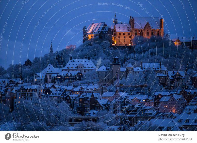 Puderzucker City Himmel Ferien & Urlaub & Reisen Stadt Weihnachten & Advent blau Haus Winter Fenster schwarz gelb Schnee orange Tourismus Ausflug Romantik Dach
