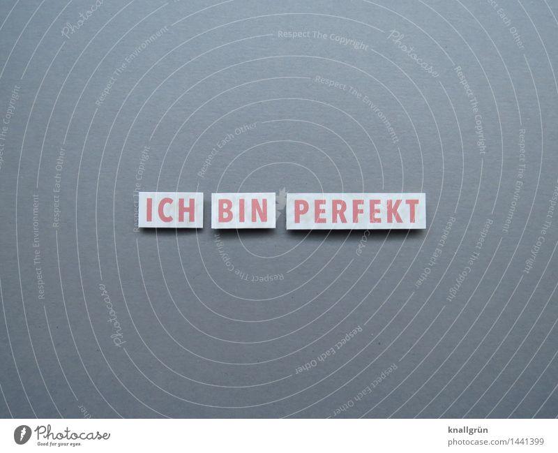 ICH BIN PERFEKT Schriftzeichen Schilder & Markierungen Kommunizieren eckig Gefühle Stimmung Begeisterung selbstbewußt Hochmut Übermut perfekt falsch Farbfoto