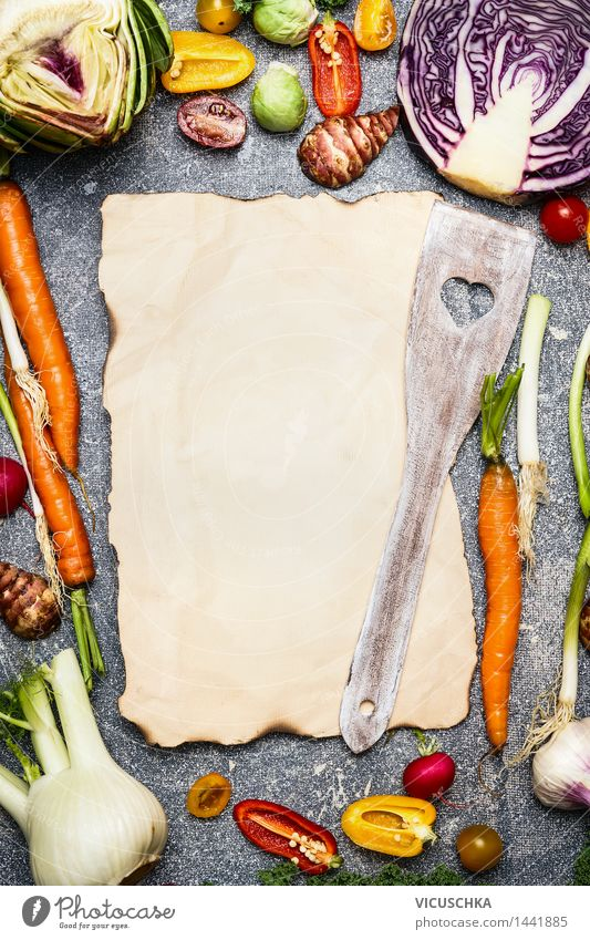 Vegetarisch Kochen mit saisonales Gemüse Gesunde Ernährung Foodfotografie Leben Hintergrundbild Stil Gesundheit Lebensmittel Design kaufen Papier Küche