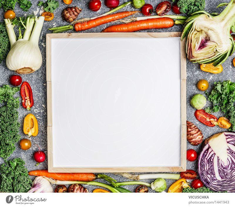 Frisches Gemüse um weißer Tafel Gesunde Ernährung Leben Essen Foodfotografie Stil Hintergrundbild Lebensmittel Design Kräuter & Gewürze Bioprodukte Abendessen