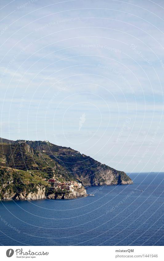 Bunte Küste. Meer Landschaft Küste Kunst ästhetisch Insel Italien mediterran Mittelmeer Kunstwerk Hafenstadt