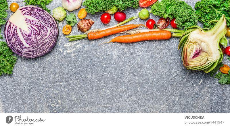 Bio-Gemüse für gesunde Ernährung Lebensmittel Kräuter & Gewürze Bioprodukte Vegetarische Ernährung Diät Stil Design Gesunde Ernährung Tisch Küche Restaurant