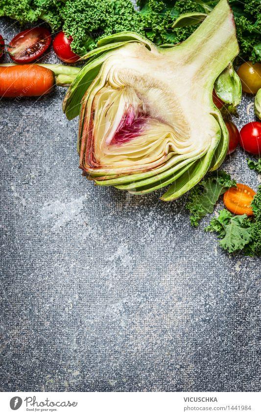 Artischocke und Gemüse Zutaten fürs Kochen grün Gesunde Ernährung Leben Foodfotografie Essen Lifestyle Stil Lebensmittel Design Küche Bioprodukte Restaurant