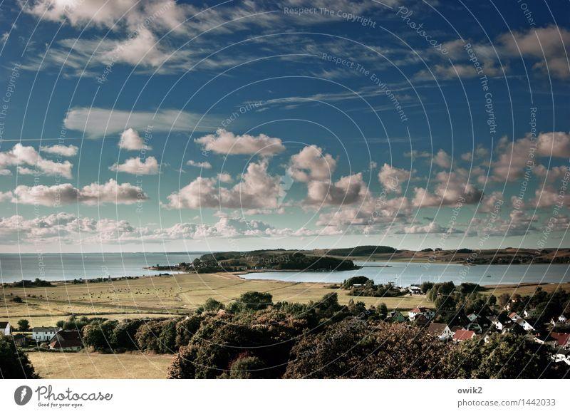War mal Südschweden Ferne Freiheit Umwelt Natur Landschaft Wasser Himmel Wolken Horizont Klima Schönes Wetter Baum Feld Hügel Küste Bucht Ostsee Insel Rügen