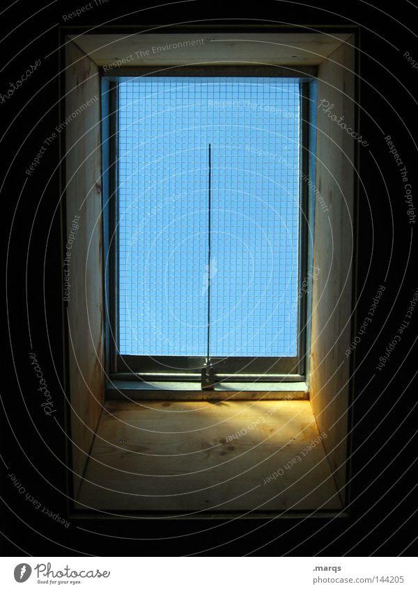 Skylight Holz Dach Licht Fenster Aussicht Dachfenster Häusliches Leben blau Glas Sonne Rahmen Schatten ...