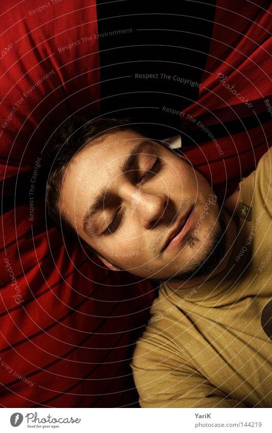 daydream Bett schlafen träumen Tagtraum Kissen geschlossen Gedanke Bettdecke rot tauchen Fantasygeschichte Traumwelt Fröhlichkeit Zufriedenheit Erholung ruhig