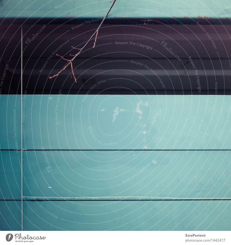 LKW (Ausschnitt) im Herbst Umwelt Pflanze Lastwagen Metall Linie Streifen blau grau Zweige u. Äste Grafik u. Illustration Grafische Darstellung graphisch