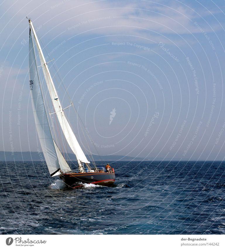 Segeln2 Wasser Himmel Meer blau Freude Ferien & Urlaub & Reisen ruhig Wolken Einsamkeit Sport Erholung Spielen Freiheit See Wellen Wind