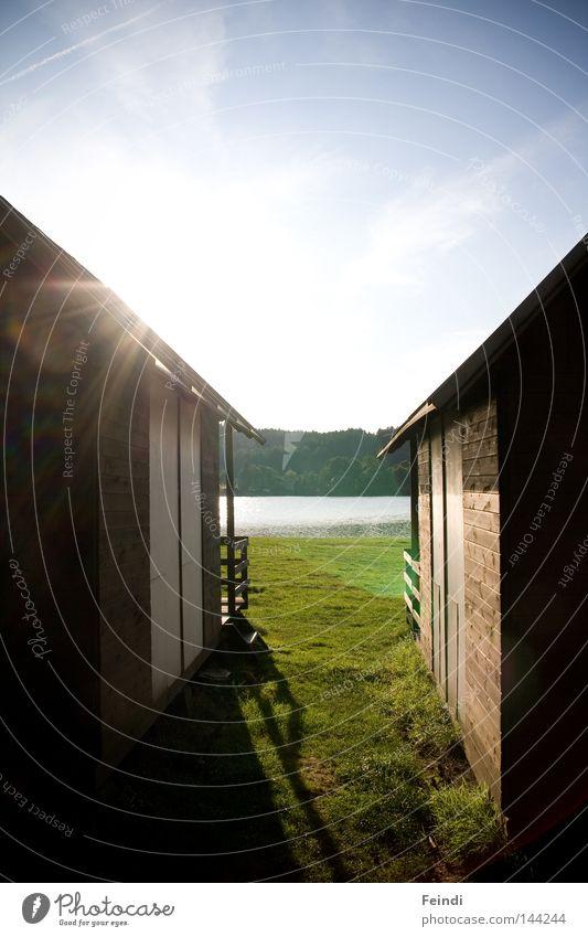 Der Tag vor dem Abend Himmel Sonne Sommer Ferien & Urlaub & Reisen See Stimmung Schönes Wetter Schweden Badewiese Vignettierung Landschaftsformen Ferienhaus